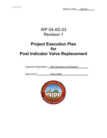 Project Execution Plan for Post Indicator Valve Replacement