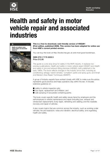 Health and safety in motor vehicle repair and associated industries