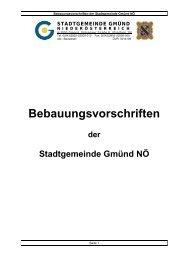Bebauungsvorschriften der Stadtgemeinde Gmünd NÖ