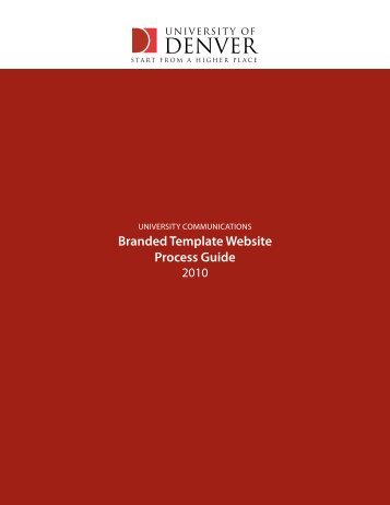 Template Website Guide & Consulting Process - University of Denver