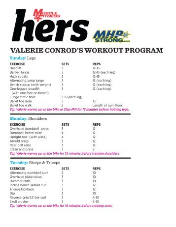Valerie Conrod S Workout Program Muscle And Fitness Hers