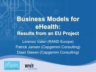 Business Models for eHealth: - World of Health IT Conference
