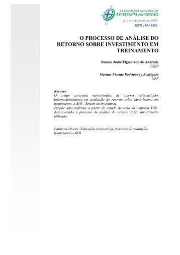 o processo de análise do retorno sobre investimento em treinamento