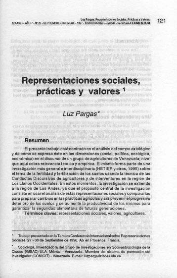 Representaciones sociales, prácticas y valores 1 - SABER-ULA ...