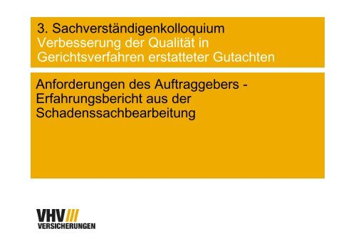Vortag - Anforderungen des Auftraggebers - VBD