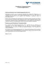 Europ. Transparenz Kodex - Volksbank Investments