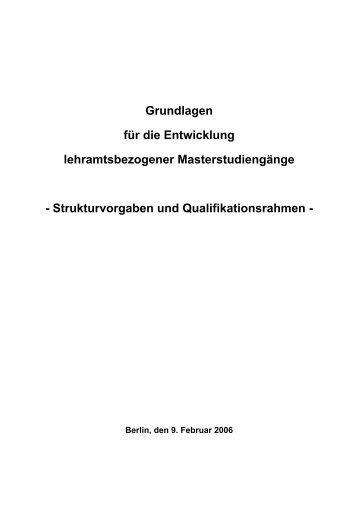 Strukturvorgaben und Qualifikationsrahmen - LeBi-Wiki