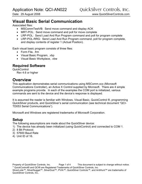 Visual Basic Serial Communication - QuickSilver Controls Inc