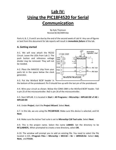 Lab IV: Using the PIC18F4520 for Serial Communication