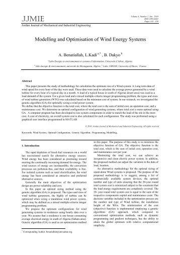 t - Jordan Journal of Mechanical and Industrial Engineering
