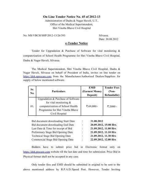 Tender Notice - Dadra and Nagar Haveli