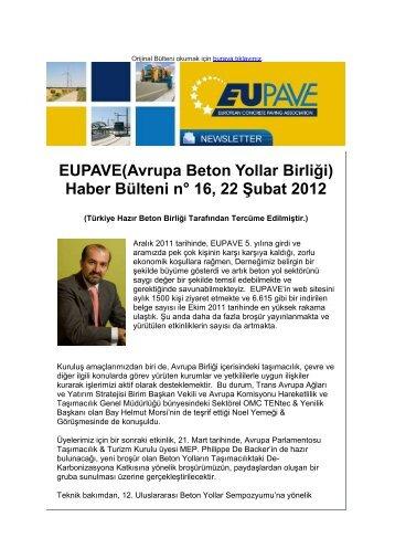 Haber Bülteni n° 16, 22 Şubat 2012 - Türkiye Hazır Beton Birliği