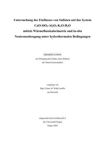 Untersuchung des Einflusses von Sulfaten auf das System CaO ...