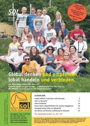 Global denken und empfinden, lokal handeln und verbinden. - SOL ...