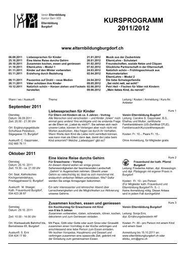 Jahresprogramm 2011 / 2012 - Elternbildung Burgdorf