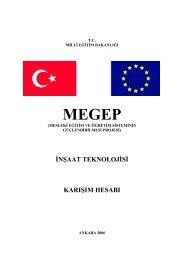 inşaat teknolojisi karışım hesabı - Megep - Milli Eğitim Bakanlığı