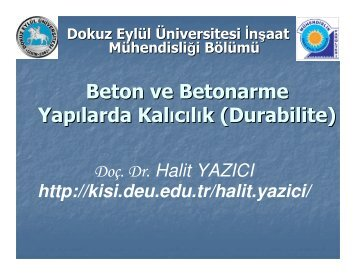 Beton ve Betonarme Yapılarda Kalıcılık (Durabilite) - Dokuz Eylül ...