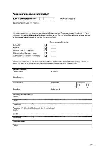 Antrag auf Zulassung zum Studium - Hochschule Bochum
