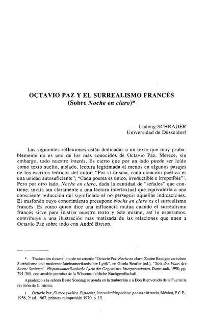 Octavio Paz Y El Surrealismo Francés Sobre Rua