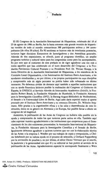 Prefacio del editor - Centro Virtual Cervantes
