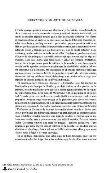 Actas II. AIH. Cervantes y su arte de la novela. KARL-LUDWIG SELIG