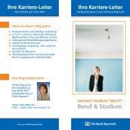 Beruf & Studium - VR-Bank Bayreuth