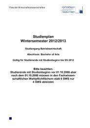 Studienplan Wintersemester 2012/2013 - Hochschule Ingolstadt