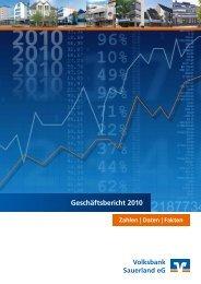 Geschäftsbericht 2010 - Volksbank Sauerland eG