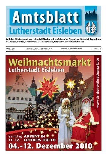 Jubiläen im Monat Dezember 2010 - Lutherstadt Eisleben