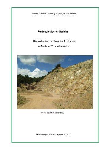 Vulkanite von Garsebach - Dobritz - Nossen Bergbau Gersdorf