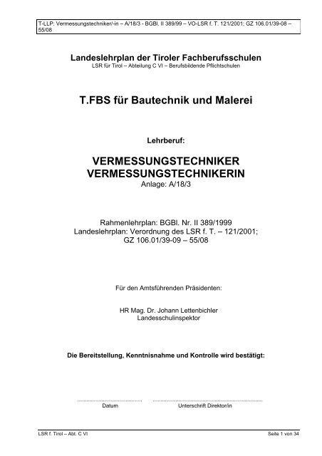 vermessungstechniker vermessungstechnikerin - Tiroler ...