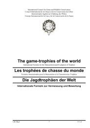 Les trophées de chasse du monde - International Council for Game ...