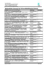 Bestandsliste (Auszug) der Universitätsbibliothek Rostock