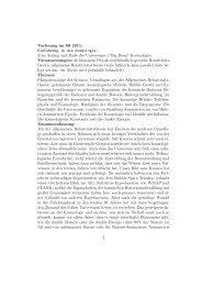 Vorlesung im SS 2011: Einführung in die Kosmologie: Vom Anfang ...
