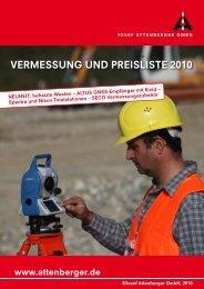 VermessunG und PreIsLIsTe 2010