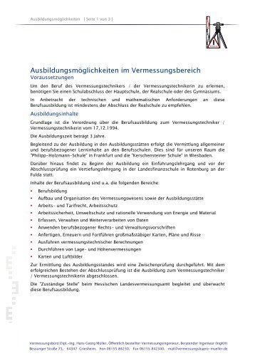 Absteckung des Projektes - Vermessungsbüro Müller