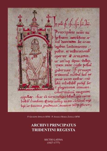 ARCHIVI PRINCIPATUS TRIDENTINI REGESTA