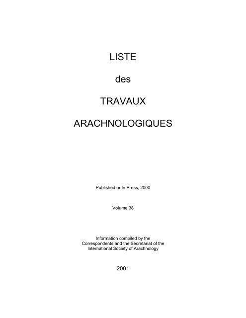 Arachnida International Society For Arachnology