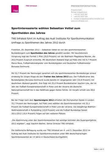 Sportinteressierte wählen Sebastian Vettel zum ... - TNS Infratest
