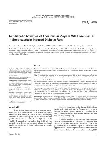 antidiabetic and antioxidant activity of wasteland The antidiabetic and antioxidant potential of triticum aestivum were evaluated by using in vivo methods in normal and streptozotocin-induced.