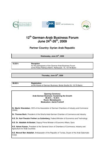 12 German-Arab Business Forum June 24 -26 , 2009 - Ghorfa