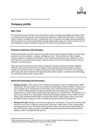 1_Vetter company profile - Vetter Pharma