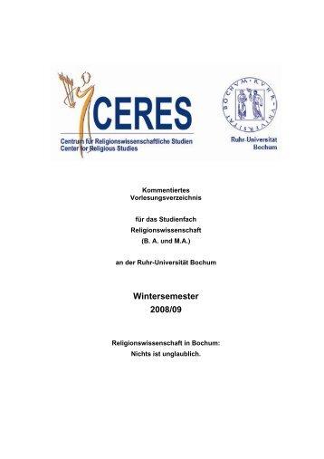 Wintersemester 2008/09 - CERES - Ruhr-Universität Bochum