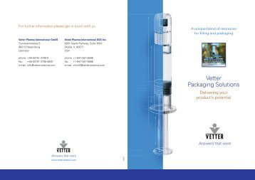 Simple solutions, high-quality results. - Vetter Pharma