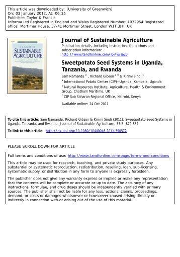 Sweetpotato Seed Systems in Uganda, Tanzania, and Rwanda