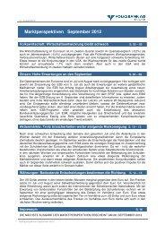 Marktperspektiven September 2012 - Volksbank AG