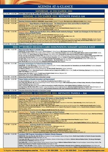 AGENDA AT-A-GLANCE - World Congress