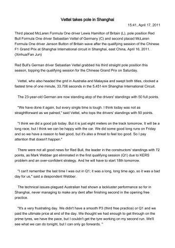 Vettel takes pole in Shanghai
