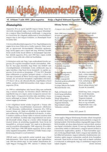 Mi újság, Monorierdő? - A Bogárzó Közhasznú Egyesület honlapja