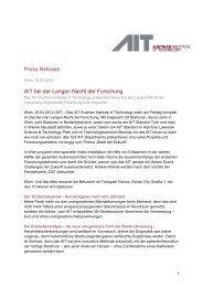 Press Release AIT bei der Langen Nacht der Forschung